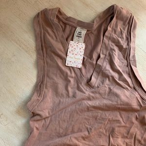 NWT Free People Crop Top Vneck soft cotton T-shirt